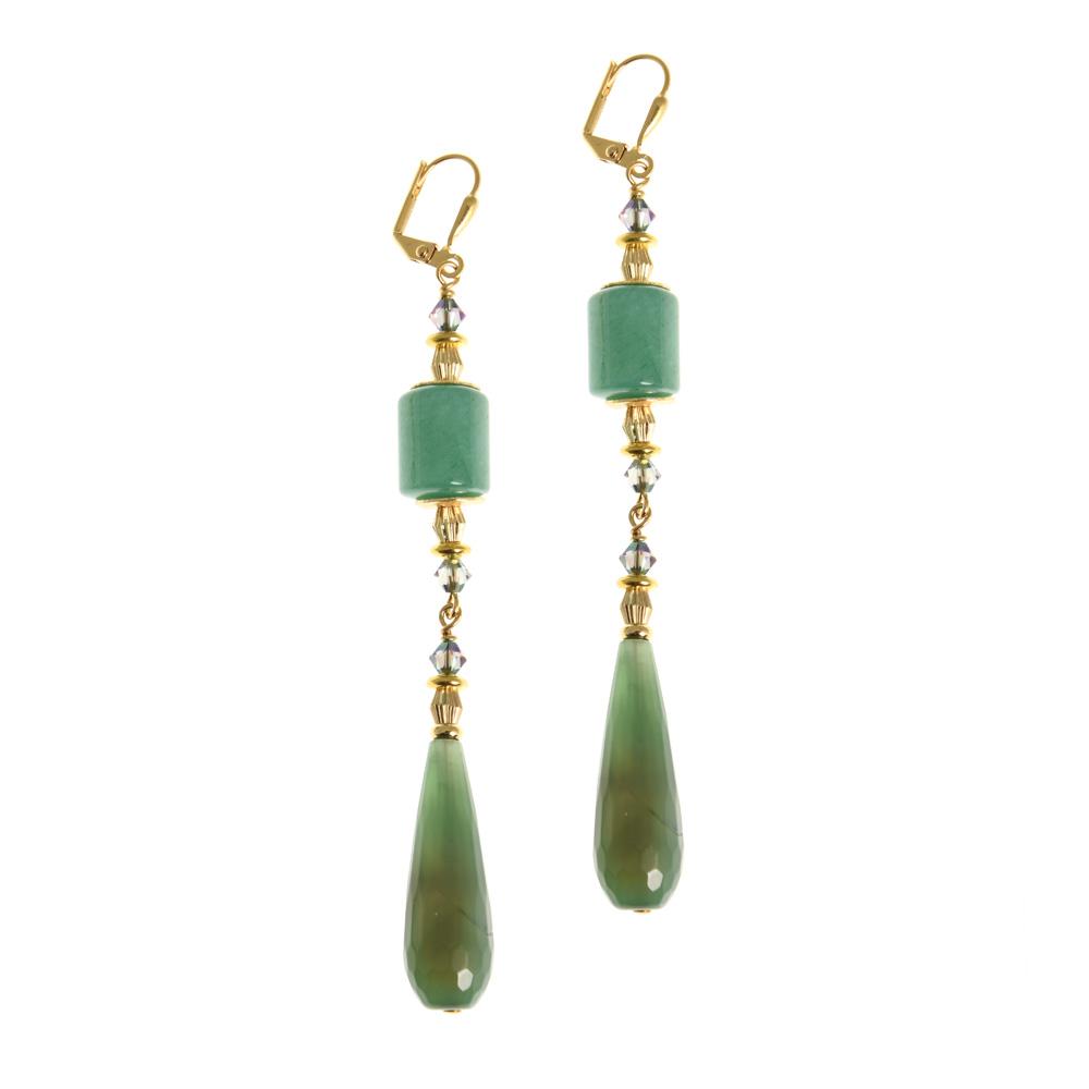 green gemstone statement earrings f