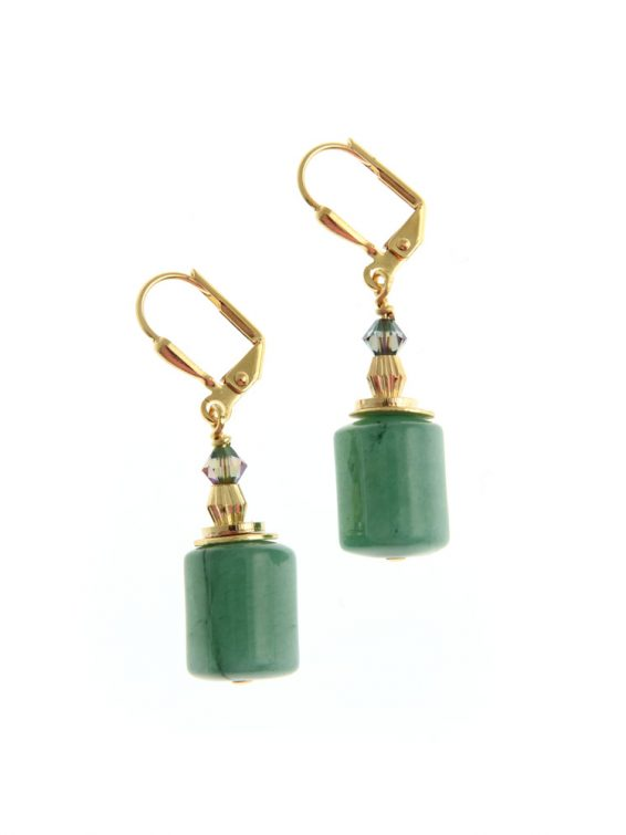 green gemstone drop earrings 1