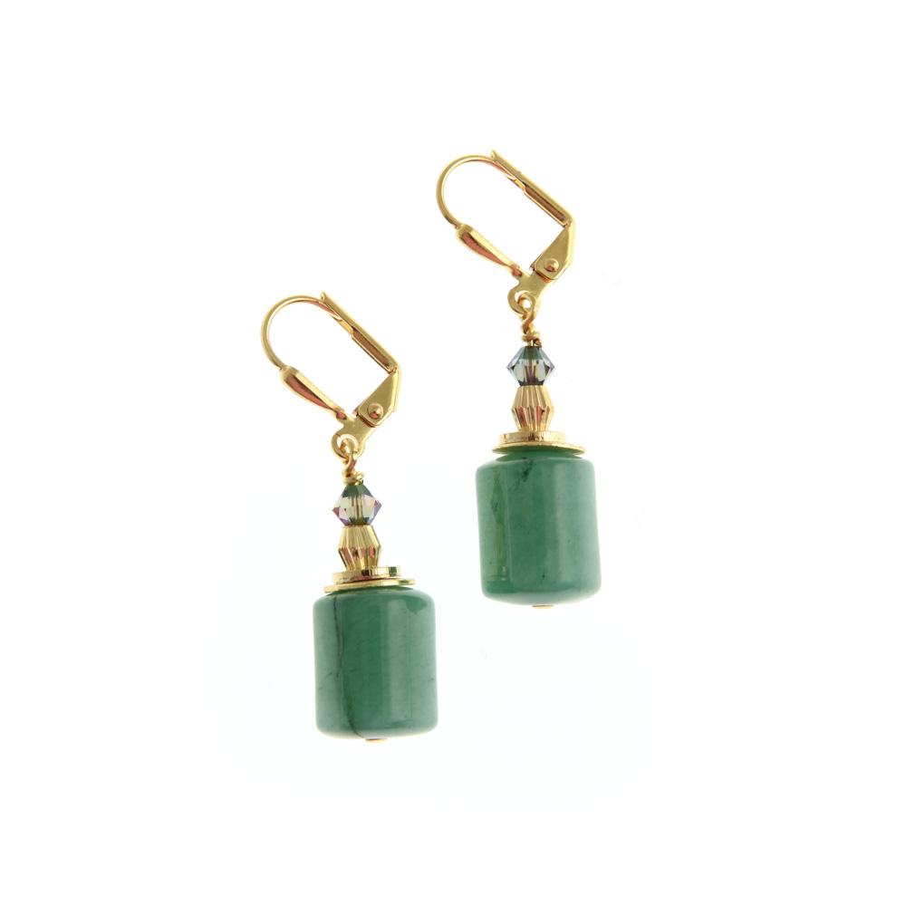 green gemstone drop earrings 1