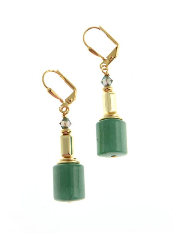green gemstone statement earrings d