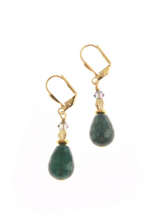 green gemstone drop earrings d