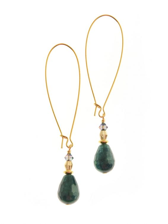 green gemstone drop earrings