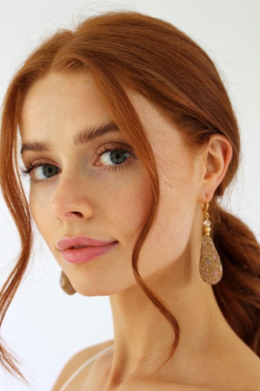 rose meteorite earrings