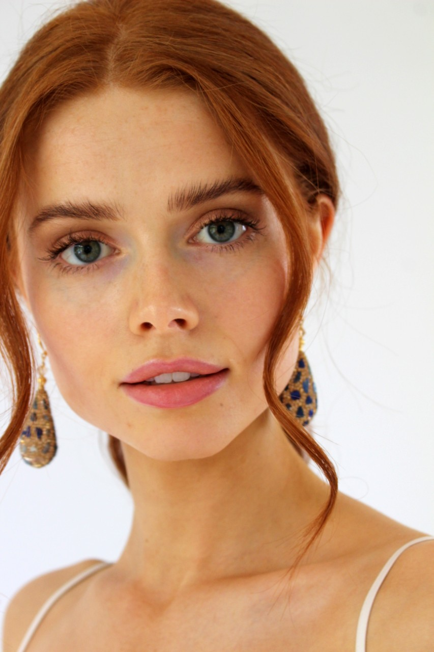 Lapis Meteorite Earrings