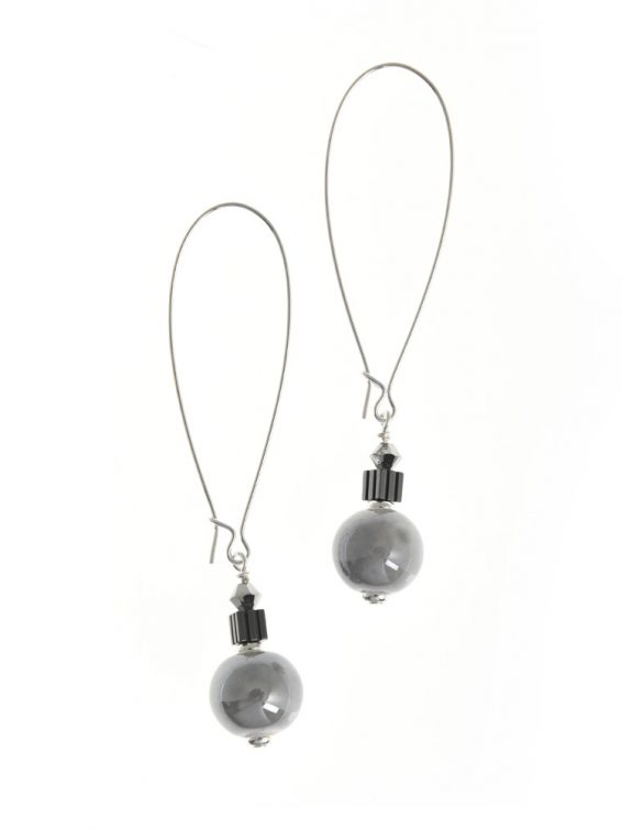 grey ceramic earrings long hook