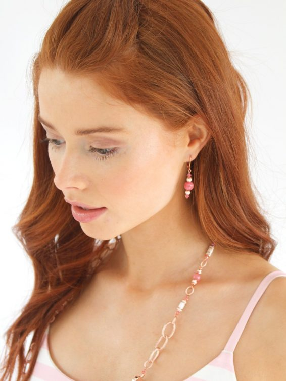Flamant Pink Shell Earrings Short